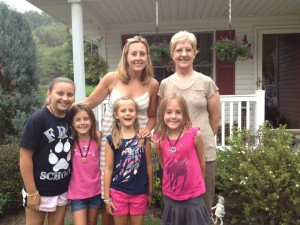 My mom, me and four of her six granddaughters.